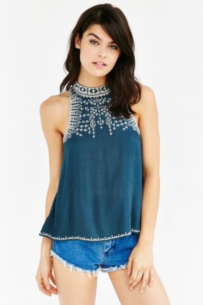 Ecote Leah Embroidered Swing Top