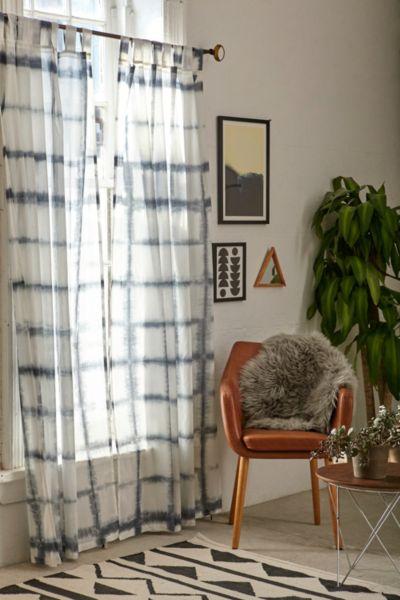 Accordion Indigo Dye Curtain - Blue 84