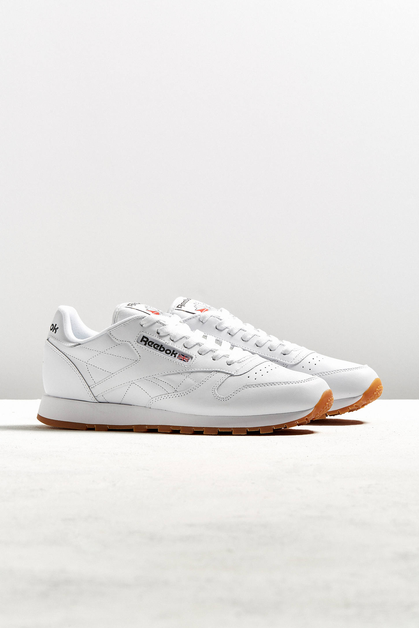 reebok classic white leather gum sole trainers