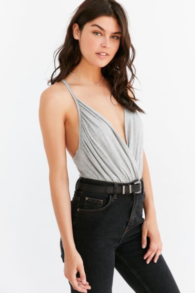 Kimchi Blue Surplice Bodysuit - Light Grey S at Urban Outfitters