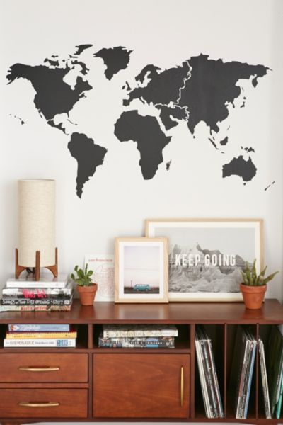 Walls Need Love World Map Wall Decal - Black One Size at Urban Outfitters