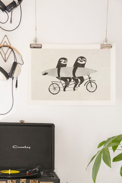 Urban Outfitters Surfing Sloth Tandem Sloth Art Print In No Frame