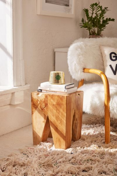 Woodblock Square Stool - Brown One Size at Urban Outfitters