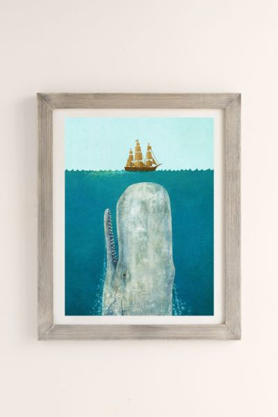 Terry Fan The Whale Art Print - Dark Grey One Size at Urban Outfitters