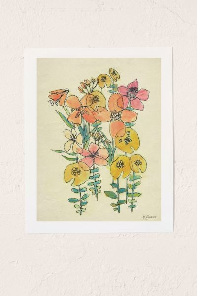 Luna Reef Contour Wildflowers Art Print - Multi 8 X 10 at Urban Outfitters