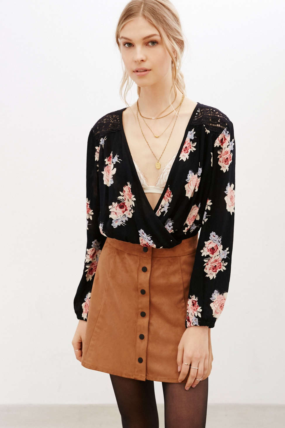 Kimchi Blue Surplice Banded Bottom Blouse Urban Outfitters