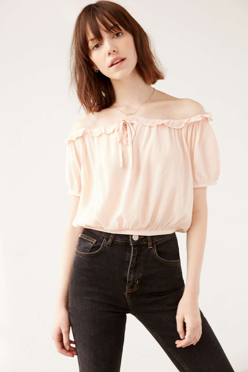 Kimchi Blue Banded Bottom Cap Sleeve Blouse Urban Outfitters