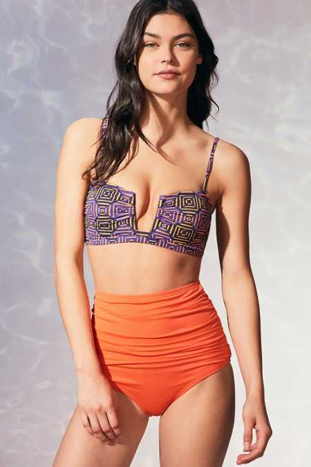 Out From Under Solid Ruched High-Waisted Bikini Bottom