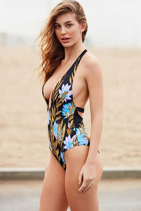 Out From Under Plunging V Printed One-Piece Swimsuit