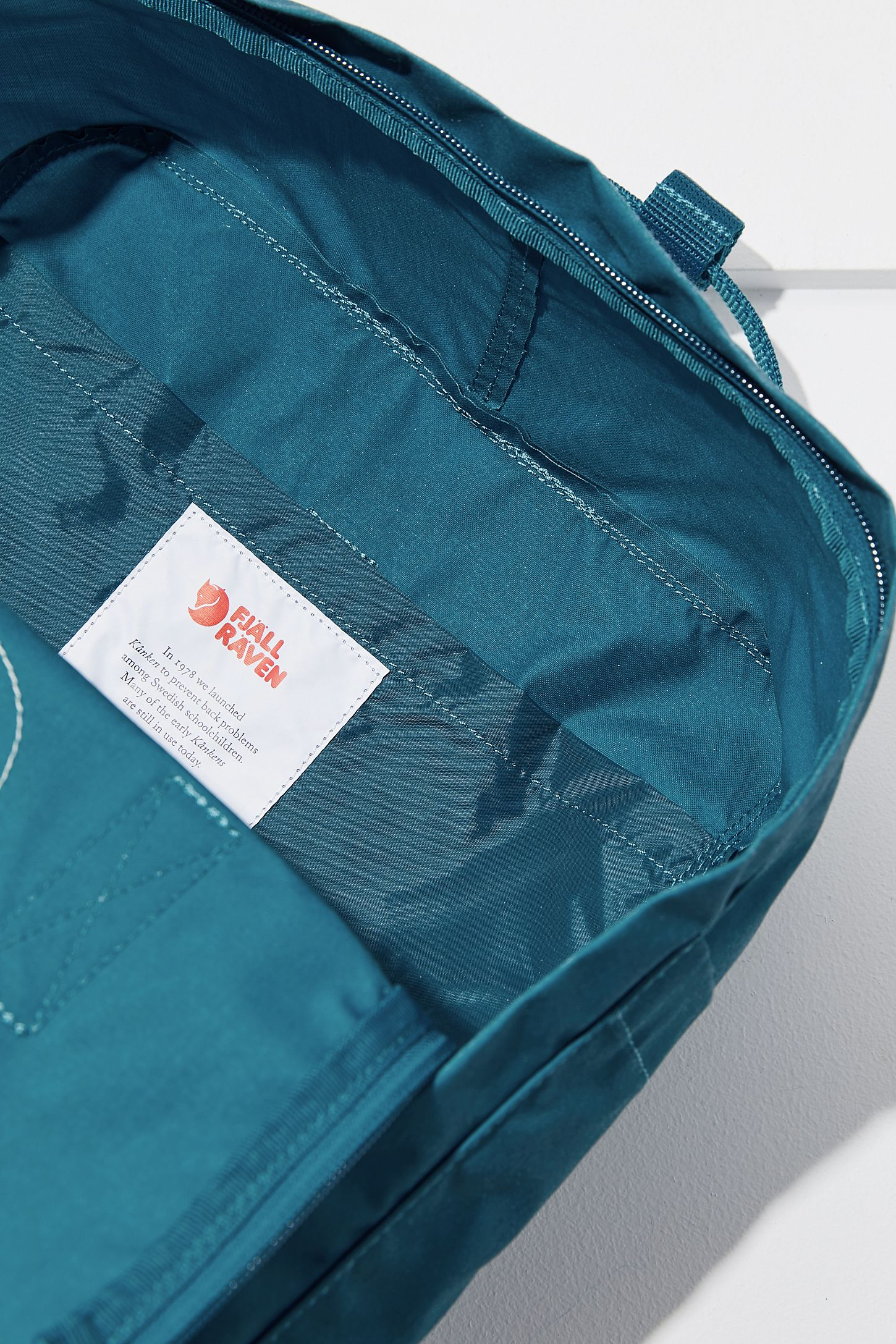 Fjallraven Kanken Backpack Urban Outfitters Classic Royal Blue Pinstripe Pattern Slide View 6