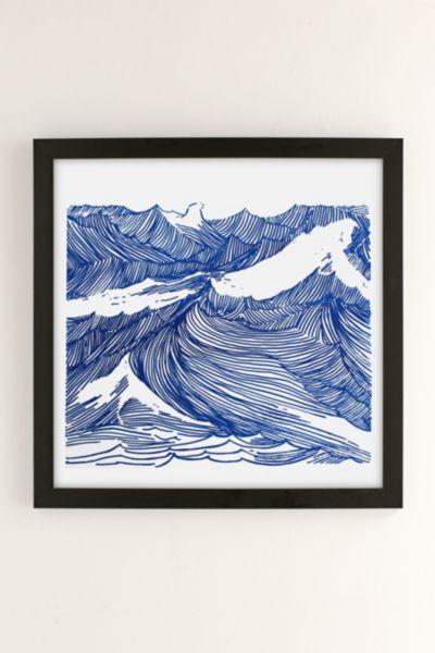 Urban Outfitters Kym Fulmer Crashing Waves Art Print In Black Matte