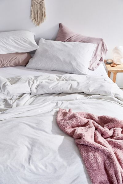 T-Shirt Jersey Duvet Cover - Light Grey F/Q at Urban Outfitters