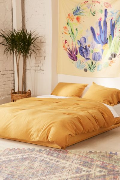 T-Shirt Jersey Duvet Cover - Mustard F/Q at Urban Outfitters