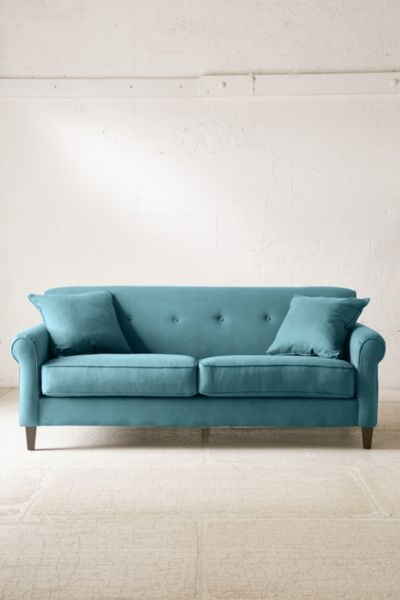 Spencer Microfiber Sofa - Green One Size at Urban Outfitters