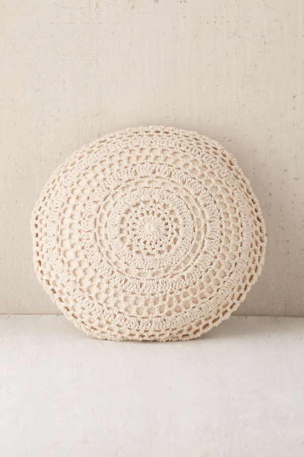 Plum Bow Primrose Round Crochet Pillow Urban Outfitters