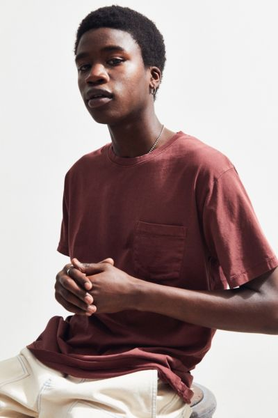 UO Pigment Pocket Tee - Maroon XS at Urban Outfitters