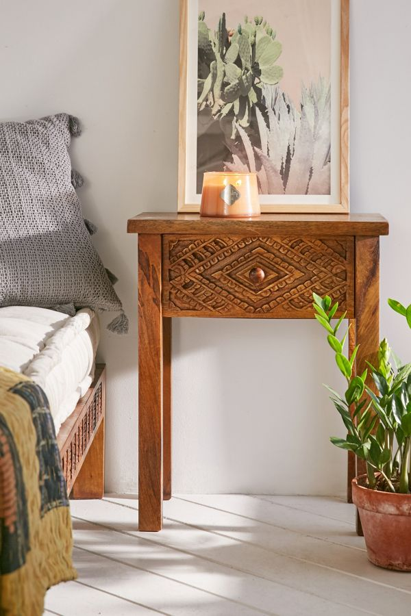 Amira Carved Wood Nightstand Urban Outfitters
