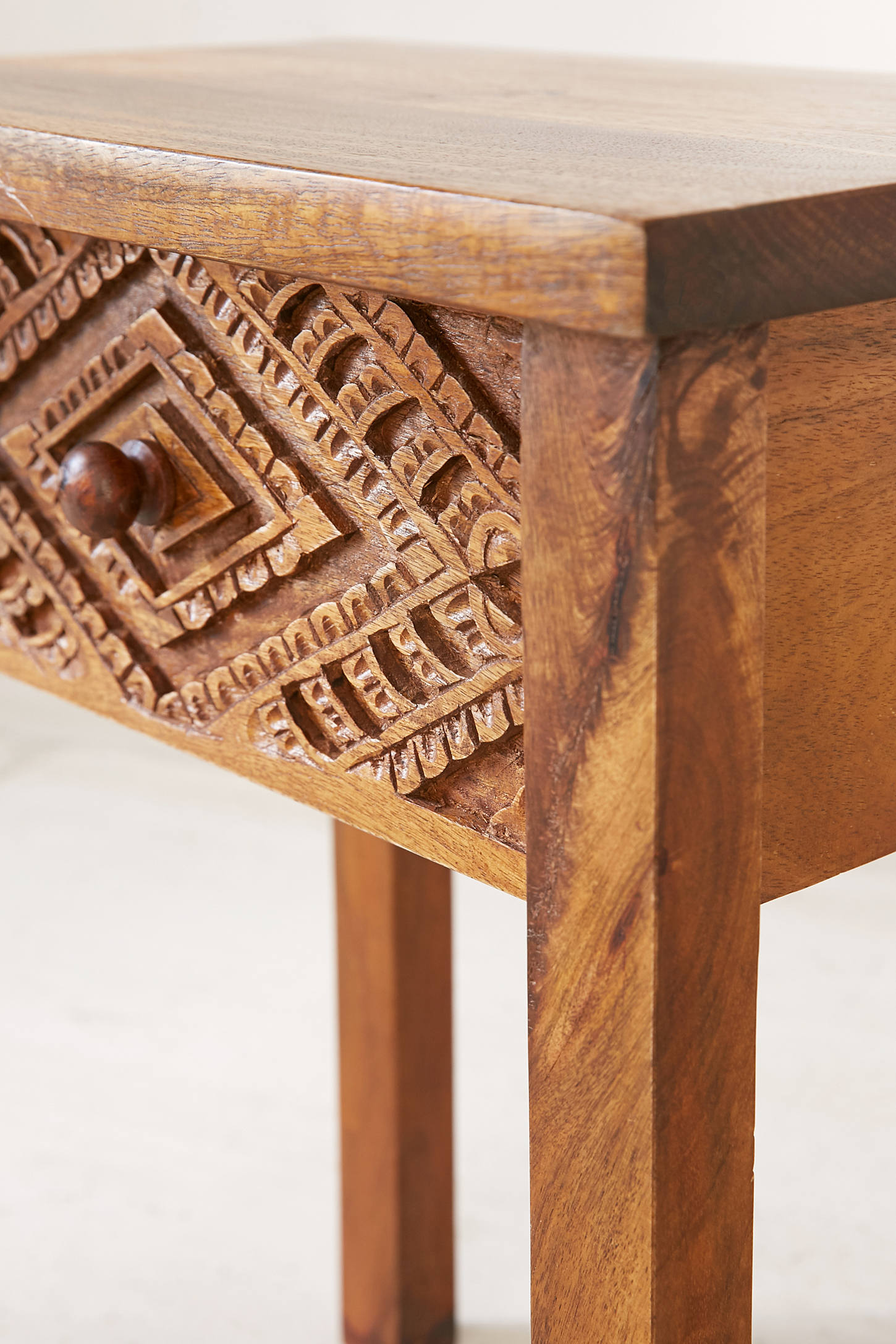 Amira Carved Wood Nightstand