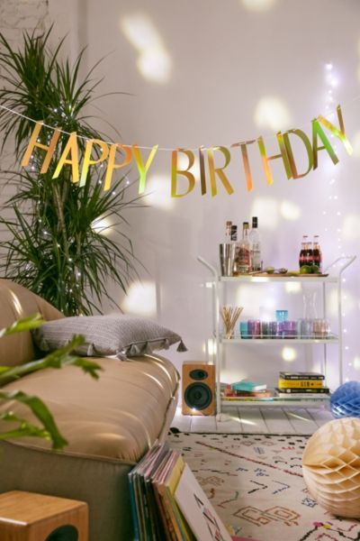 Happy Birthday Banner - Silver One Size at Urban Outfitters