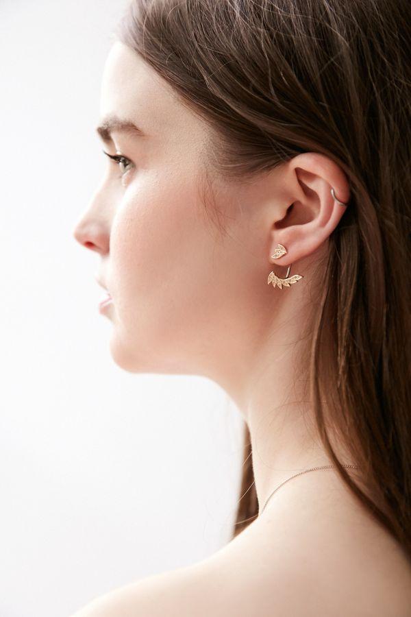 Elle Leaf Ear Hugger Front Back Earring