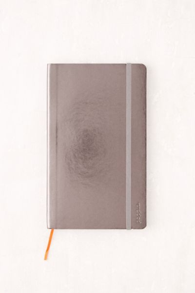 Poppin Medium Metallic Journal - Silver One Size at Urban Outfitters