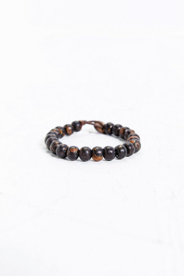 Burnished Wooden Bead Bracelet