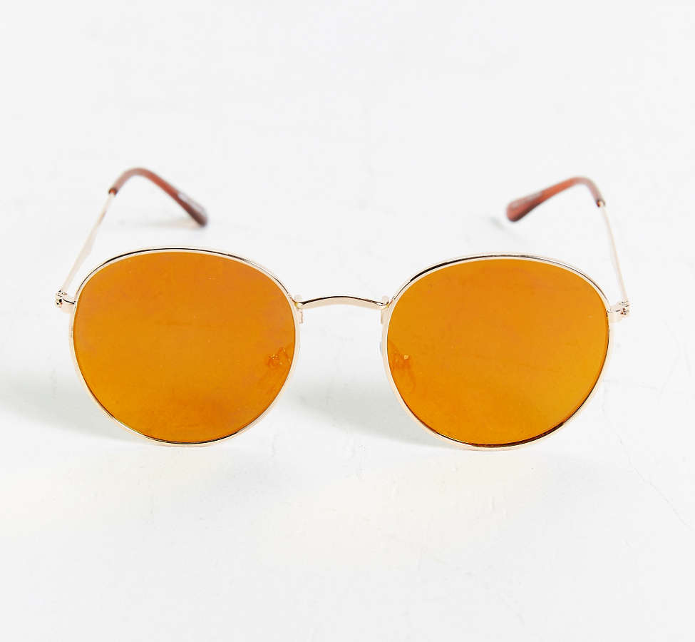 Slide View: 1: Metal Flat Lens Round Sunglasses