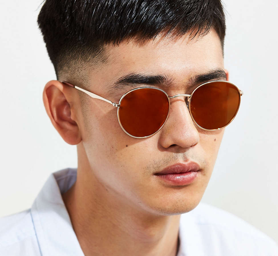 Slide View: 2: Metal Flat Lens Round Sunglasses