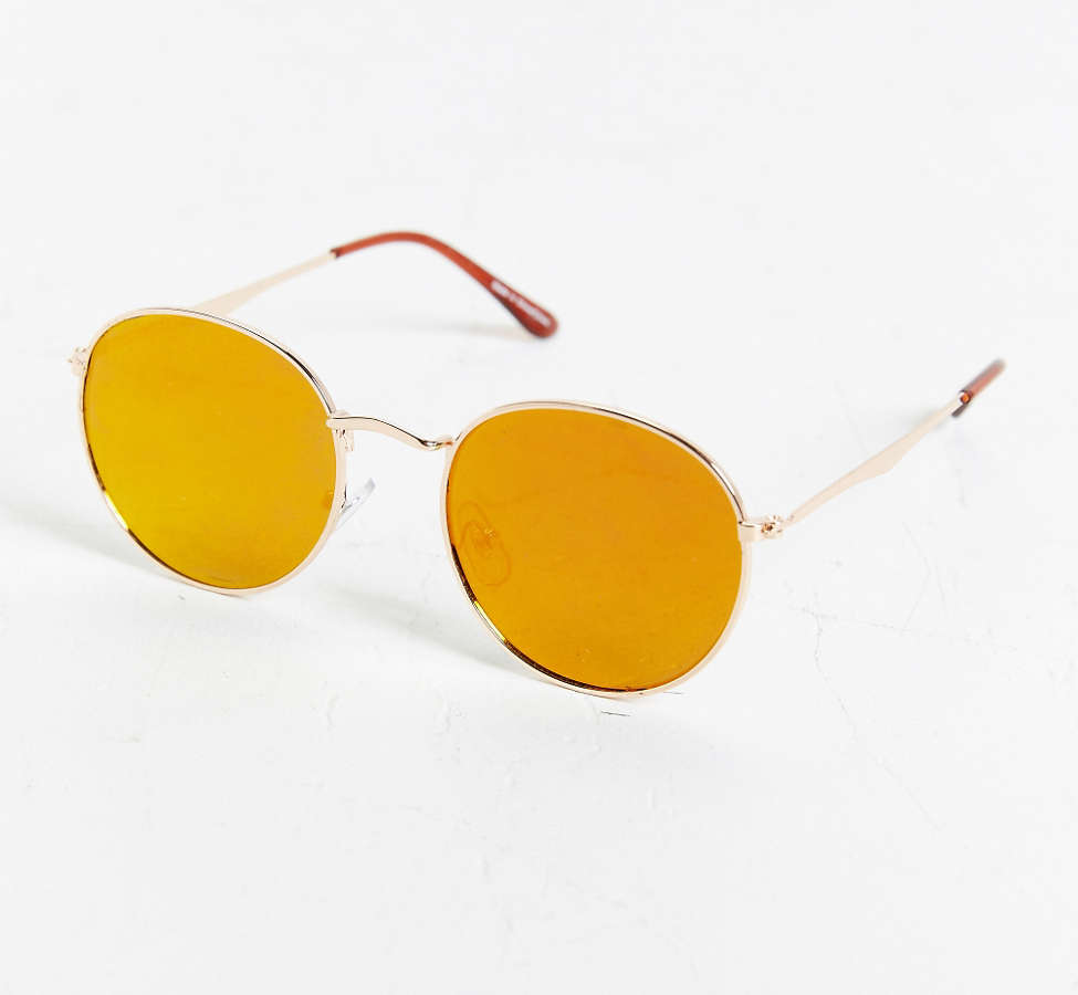 Slide View: 3: Metal Flat Lens Round Sunglasses