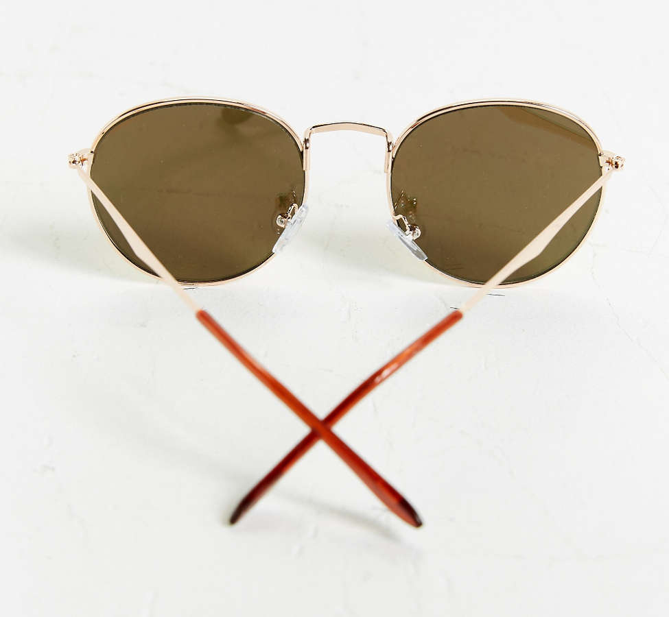 Slide View: 4: Metal Flat Lens Round Sunglasses