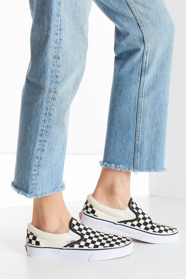 slip on checkerboard vans womens