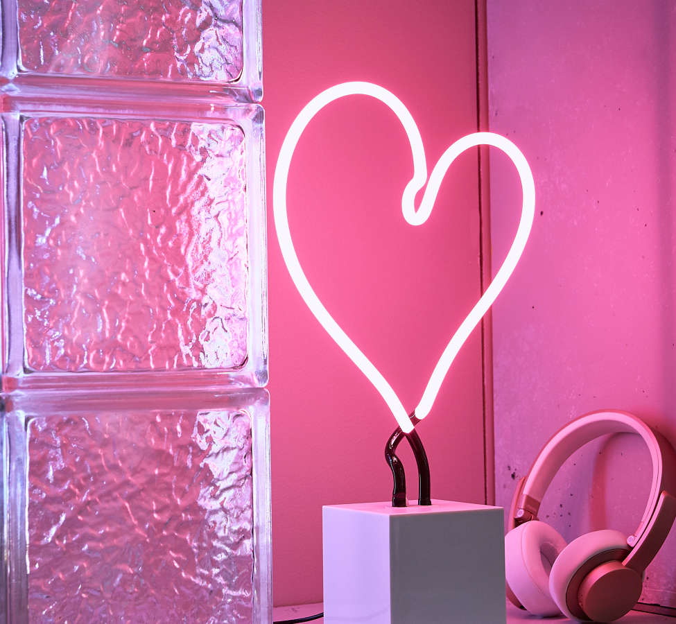 Slide View: 1: Neon Mfg. Heart Neon Sign Table Lamp