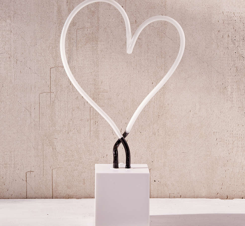 Slide View: 2: Neon Mfg. Heart Neon Sign Table Lamp