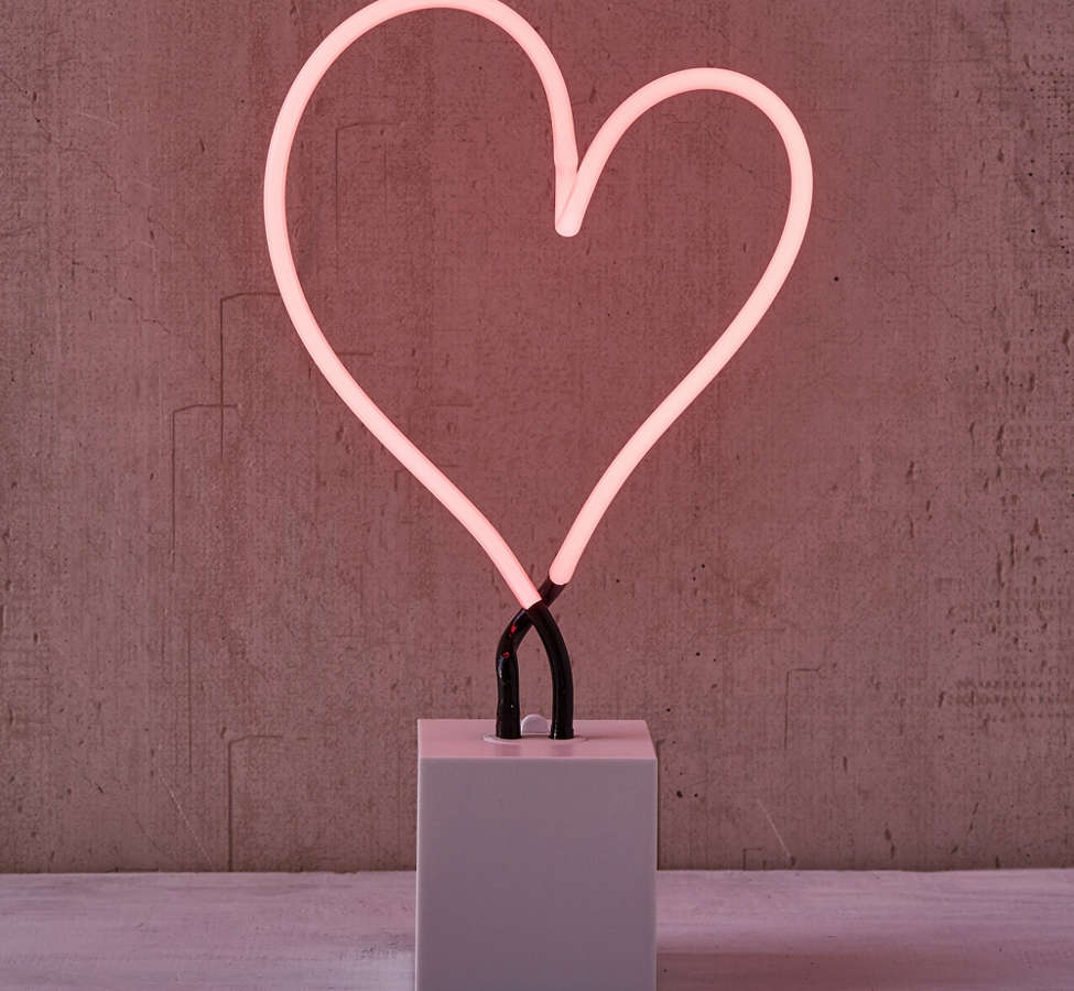 Slide View: 3: Neon Mfg. Heart Neon Sign Table Lamp