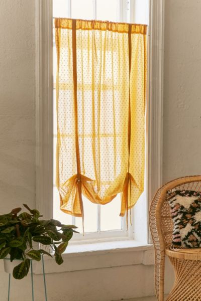 Swiss Dot Draped Shade Curtain - Gold 63