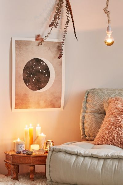 Claire Goodchild Moon & Stars Leo Art Print - Multi One Size at Urban Outfitters