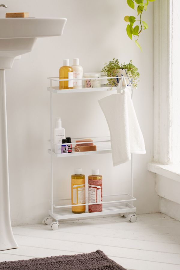 Slide View 1 Yamazaki Tower Bathroom Storage Cart