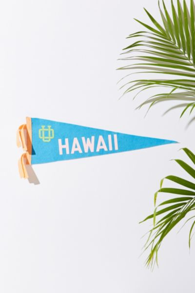 UO Souvenir Hawaii Pennant - Blue One Size at Urban Outfitters