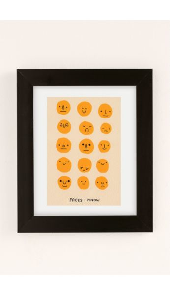 Hiller Goodspeed Faces I Know Art Print - Washed Black 8 X 10 at Urban Outfitters