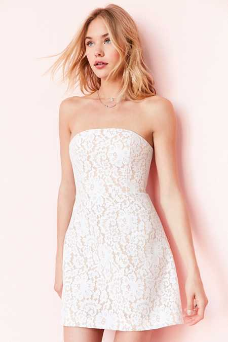 Keepsake Every Way Strapless Lace Mini Dress