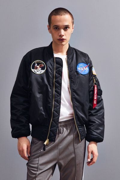 Alpha Industries NASA Bomber Jacket - Black Multi XS at Urban Outfitters