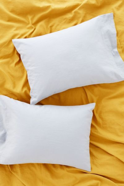 Reversible Linen Blend Pillowcase Set - Blue One Size at Urban Outfitters