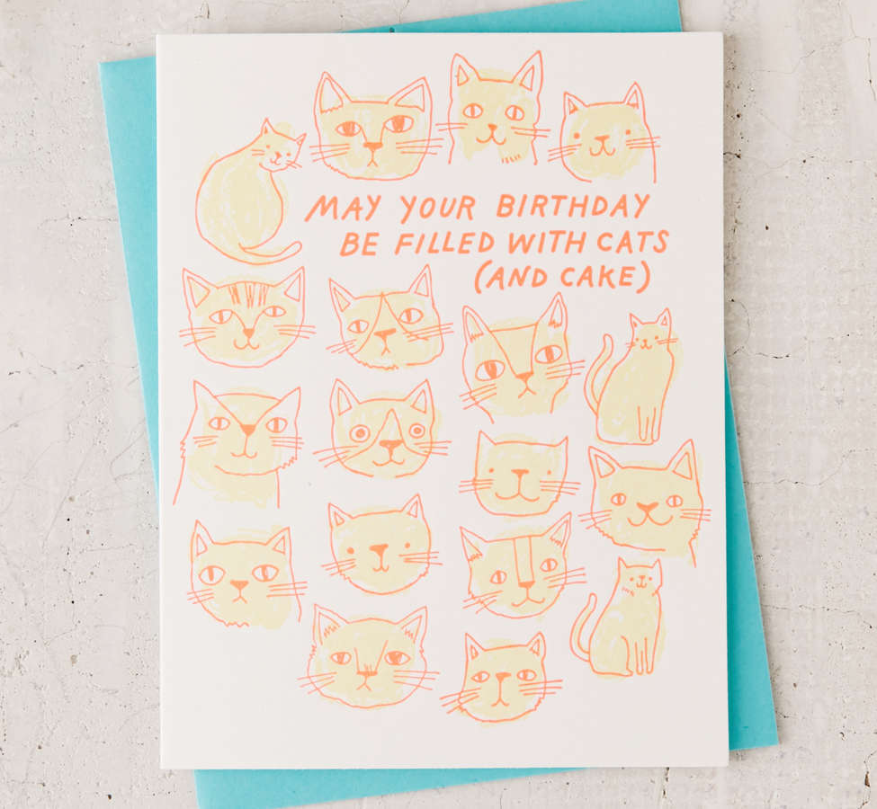 Slide View: 1: The Good Twin Cats And Cake Birthday Card