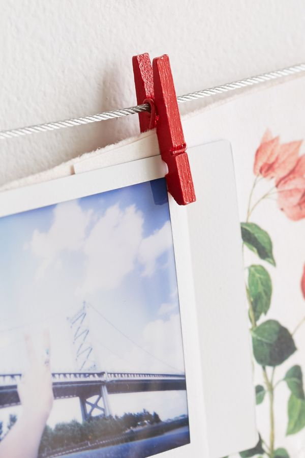Slide View: 4: Mini Clothespin Photo Clips String Set