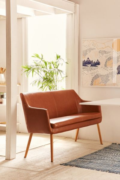 Nora Faux Leather Dining Bench - Brown One Size at Urban Outfitters