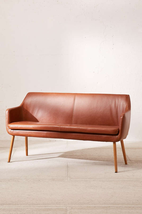 Slide View: 3: Nora Faux Leather Dining Bench - Nora Faux Leather Dining Bench Urban Outfitters
