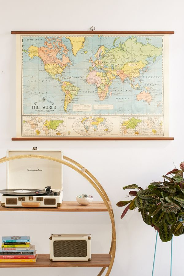 world map school chart wall hanging urban outfitters