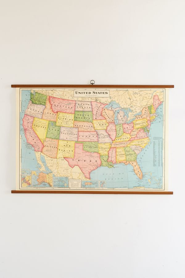 Usa map school chart wall hanging urban outfitters slide view 2 usa map school chart wall hanging gumiabroncs Images