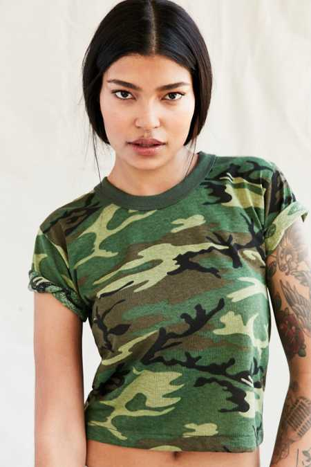 Vintage Cropped Camo Tee