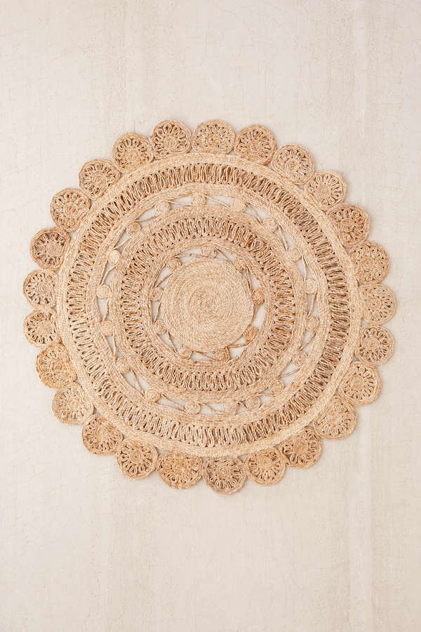 Slide View: 1: Lakho Woven Jute Round Rug - Lakho Woven Jute Round Rug Urban Outfitters